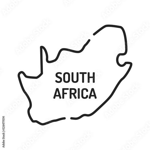 Photo Republic of south africa map black line icon
