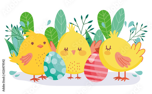 Photo happy easter cute chickens decorative eggs foliage decoration