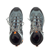 Top View Of Hiking Boots Isolated On White Background