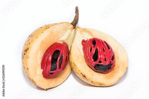 Fototapeta Fresh nutmeg isolated on white background obraz