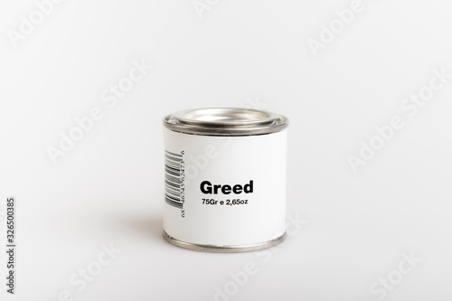 75gr of canned greed with white background Canvas Print