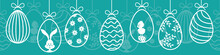 Hanging Easter Eggs Seamless Pattern Banner Blue White