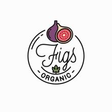 Figs Fruit Logo. Round Linear Logo Of Fig Slice