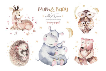 Watercolor little owl, bear deer and hedgehog baby and mother watercolour cartoon nursery card. Forest funny young animals illustration. Mom and baby decor poster