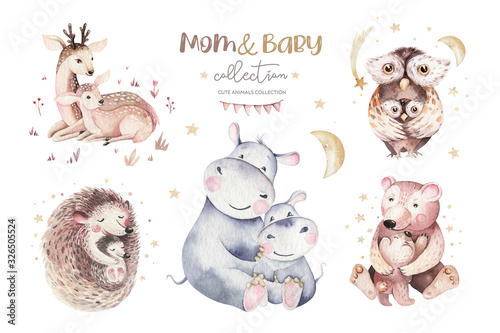Watercolor little owl, bear deer and hedgehog baby and mother watercolour cartoon nursery card Wallpaper Mural