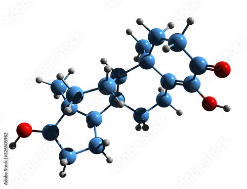 Photo 3D image of 4-Hydroxytestosterone skeletal formula - molecular chemical structur