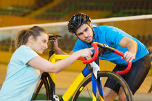 Bike And Coach In Velodrome