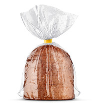 Bread Bag Packaging With Sliced Bread Inside. View Mockup Rumpled Transparent Plastic Wrap. Product Pack, Isolated On White Background, Cellophane Packing For Bakery Product. 3d Rendered Illustration.