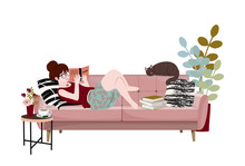 Young Woman Is Reading Book, Lying On Sofa With Her Cat. Funny Girl Spending Time With Her Pet. Cute Lady Relaxing At Home. Book Lovers, Readers, Literature Fans. Flat Cartoon Vector Illustration