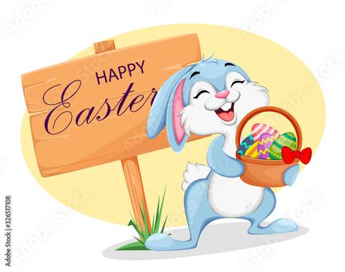 Cuadros en Lienzo Funny Easter bunny cartoon character.