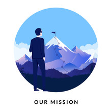 Business Mission - Illustration Of Man Looking At Mountain With Flag On Top, Symbolising The Company Goal. Tekst Below Says Our Mission.