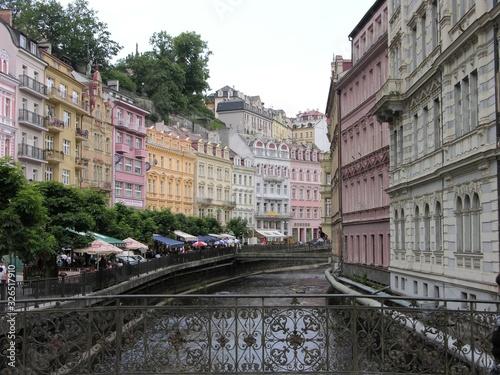 Karlovy Vary, Czech Repub., Cityscape with Tepla river Canvas Print