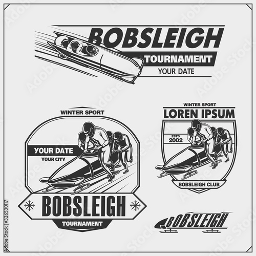 Canvas Print Set of bobsleigh emblems, labels and design elements