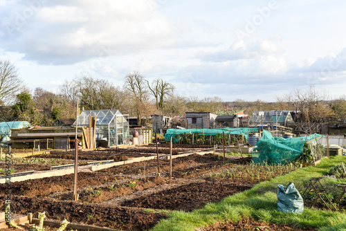 Photo Allotment plot or community garden shared by multiple owners to grow your own ve