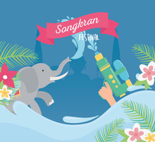 Songkran Festival Elephant And Hand With Water Gun Flowers