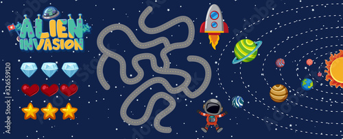 фотография Gaame template with alien invasion and space background