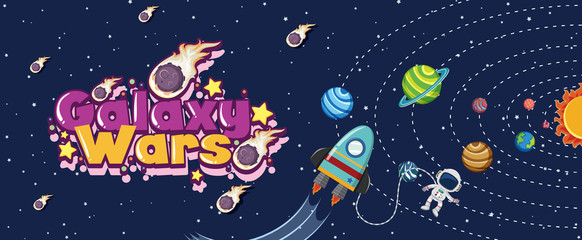 Poster design with spaceship and many planets in solar system