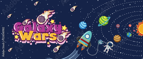 Obraz Poster design with spaceship and many planets in solar system - fototapety do salonu
