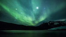 Aurora Borealis Over A Glacier...