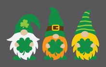 Vector Illustration Of Spring St Patrick's Day Irish Gnomes Holding Shamrocks Or Clovers.