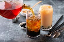 Making Milk Bubble Tea With Tapioca Pearls
