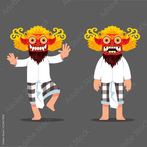 Photo Traditional Balinese Evil Spirit Mask Dancer Character