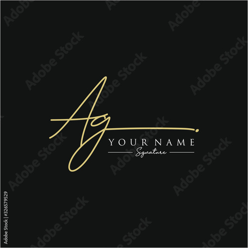 Photo Letter AG Signature Logo Template Vector