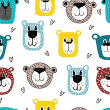 Seamless Teddy Bear Pattern Vector Hand Drawn Illustration Cartoon Style.bear Faces On White Background.suitable For Postcards,children S Clothing,fabric Design, Stickers,posters,mugs Or T-shirts.