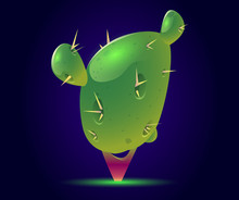 Cactus Tree Fantasy Or Alien Magic Unusual Nature Element For Computer Game, Fairy Tale Book Isolated On Blue Glowing Background. Beautiful Strange Plant. Cartoon Vector Illustration, Icon, Clip Art