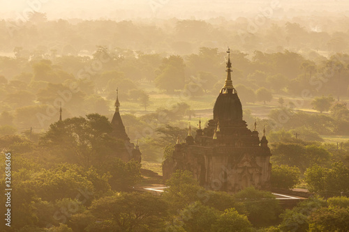 A large ancient pagoda which is Burmese architecture in the World Heritage Site in the morning of Bagan, Myanmar Canvas Print