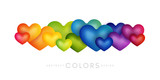 Rainbow hearts decoration. Colorful abstraction design elements. Vector horizontal banner.