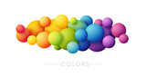 Rainbow bubbles decoration. Colorful abstraction design elements. Vector horizontal banner.