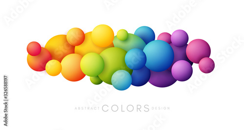 Rainbow bubbles decoration. Colorful abstraction design elements. Vector horizontal banner. - 326588197