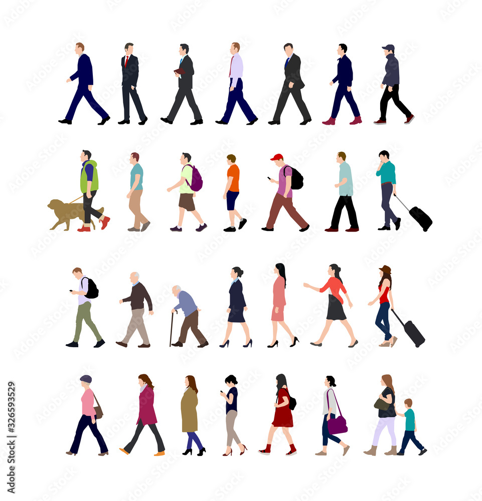 Fototapeta Walking person (male, female, business person) sihouette illustration collection (side view)