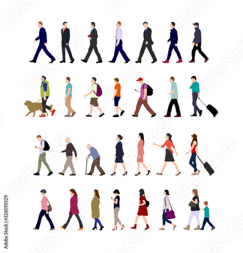 Walking person (male, female, business person) sihouette illustration collection (side view) Fotobehang