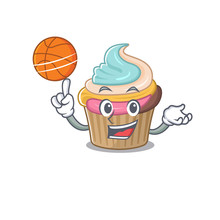 A Mascot Picture Of Rainbow Cupcake Cartoon Character Playing Basketball