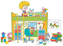 Happy Little Boy Playing With Toys In His Playroom With A Funny Bed And A Table With A Computer And A Lamp, Vector Cartoon Illustration On A White Background