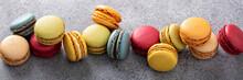 Variety Of Colorful Macarons O...