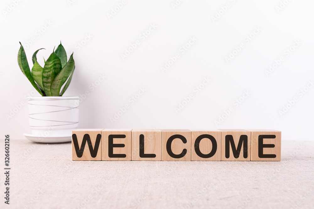 Fototapeta WELCOME word with building blocks on a light background and a green flower