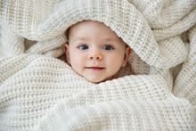 Close Up Of Cute Baby Wrapped ...