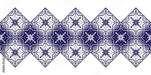 Tile border pattern vector seamless. Ceramic retro ornament texture. Portuguese azulejos, sicily italian majolica, mexican talavera, spanish mosaic, moroccan, damask, delft dutch motifs.