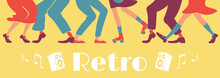 Retro Style Party Banner Flat Vector Template. 1950s Disco Horizontal Poster Word Concepts Design. Cartoon Illustrations With Typography And Rock N Roll Dancers Legs On Vintage Yellow Background