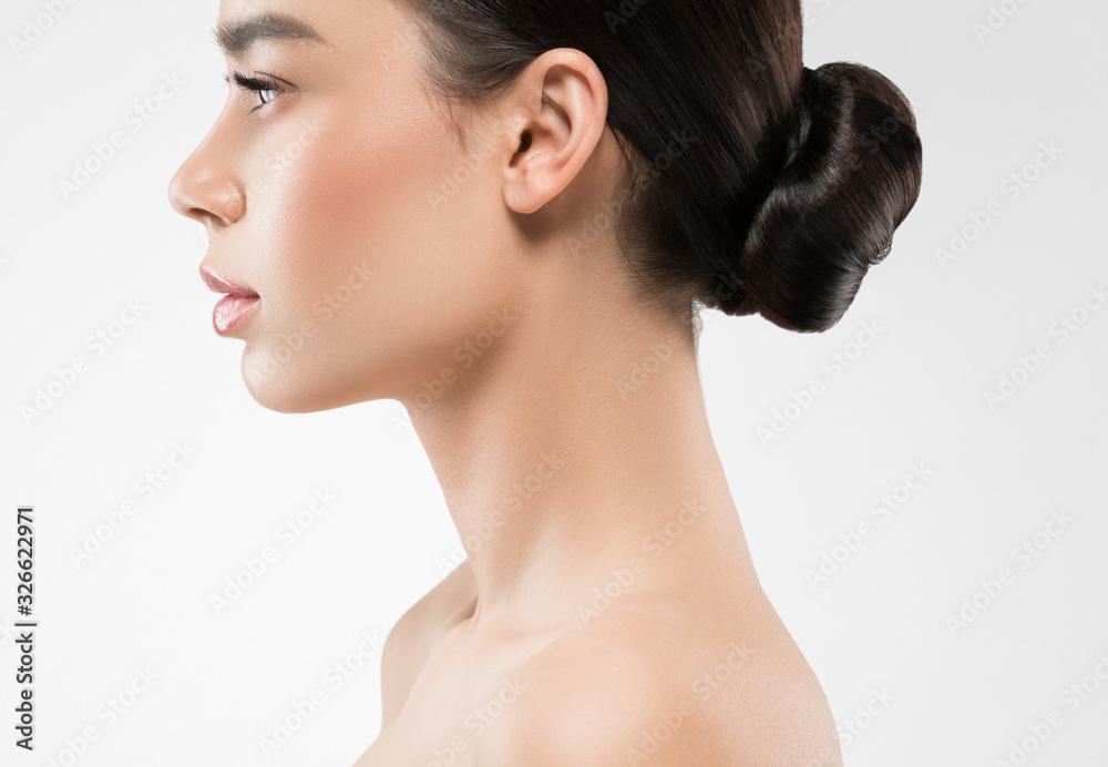Fototapeta Woman profile beauty healthy clean skin neck nose