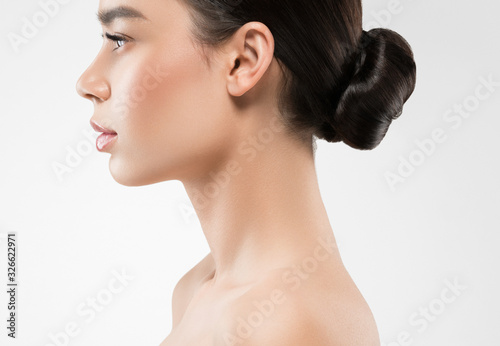 Fototapeta Woman profile beauty healthy clean skin neck nose obraz