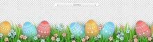 Easter Eggs Grass Flowers Seam...