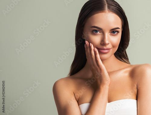 Beautiful woman healthy skin natural make up  Wall mural