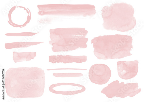 Blush pink stains set Watercolor washes and brush strokes Soft Invitatin decor Canvas Print