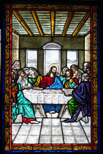 Stained Glass Window Representing The Last Supper In The Good Cathedral Of Annunciation From Targu Mures City Romania 26.02.2020