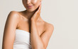 Beautiful woman  touching neck body  shoulders lips healthy skin cosmetic female