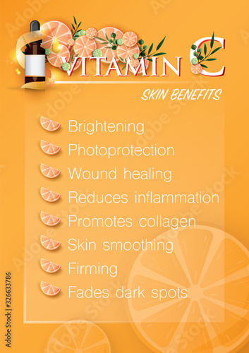 Photo vitamin c benefits for the skin is infographic information